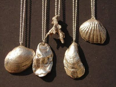Shell Jewelry with silver    Could paint my own shells with silver paint.