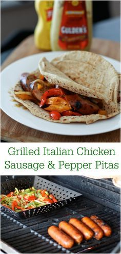 Easy & healthy summer grilling meal!  Grilled Italian Chicken Sausage & Pepper Pitas are always a hit!