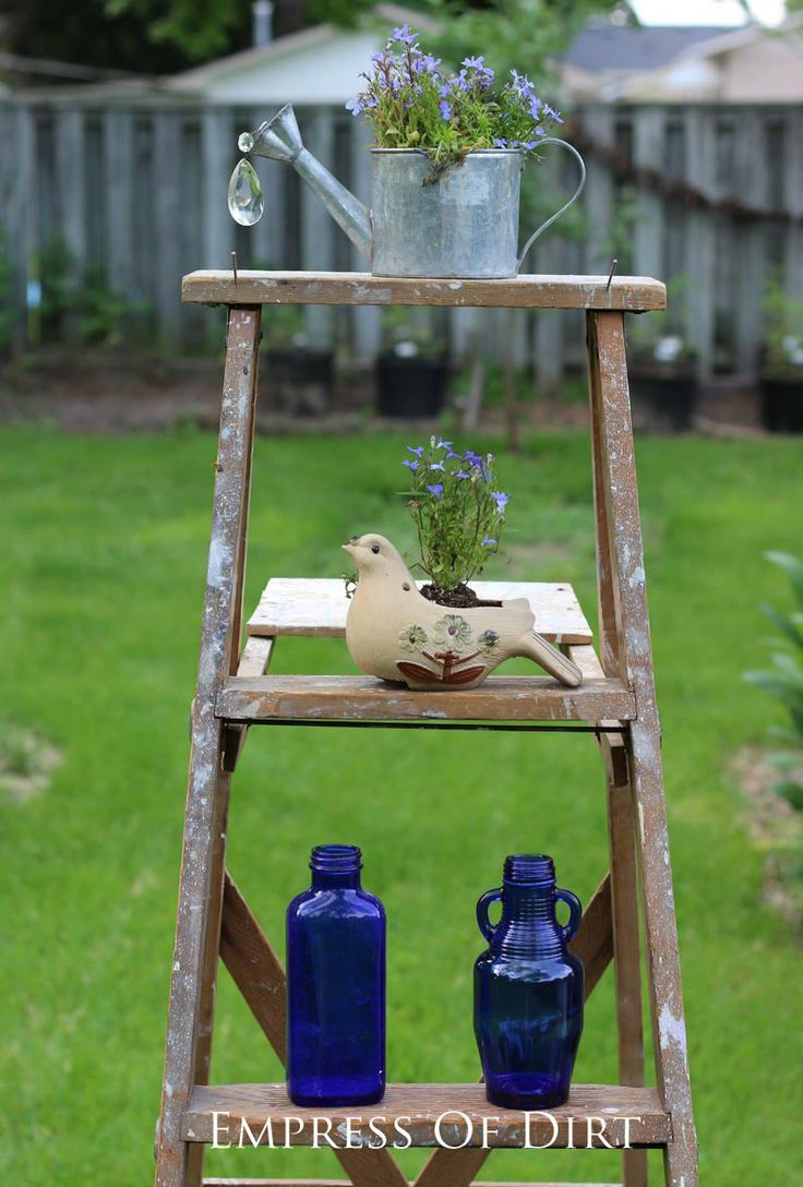 17 best images about ladders who knew what to do on pinterest vintage wooden ladders and - Ladder plant stand plans ...