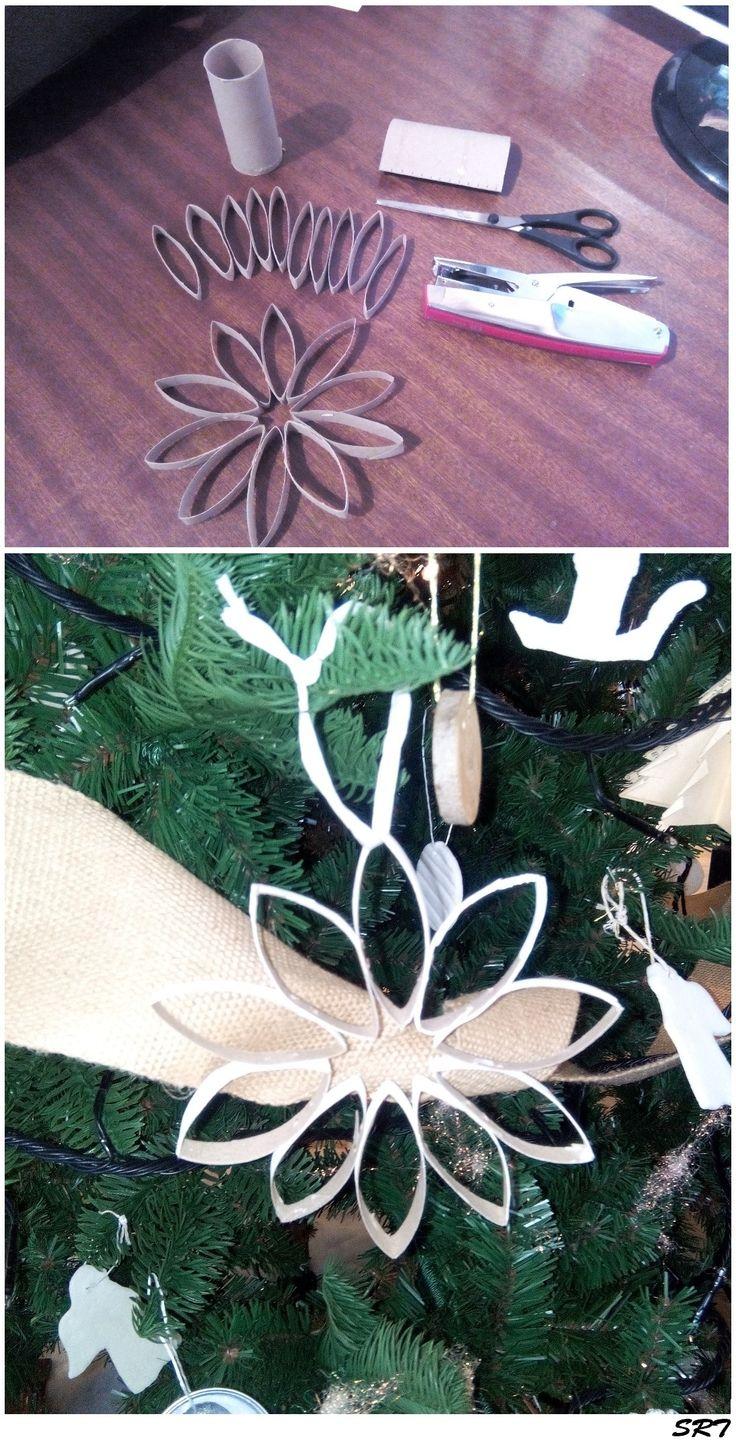 DIY décoration noël rosace avec rouleau papier WC