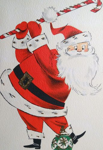 60s Santa Uses Candy Cane Golf Club to Hit Ornament Vintage Christmas Card 356 | eBay