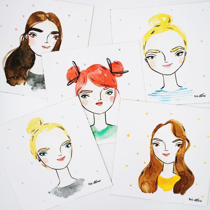 Cute handmade portriats