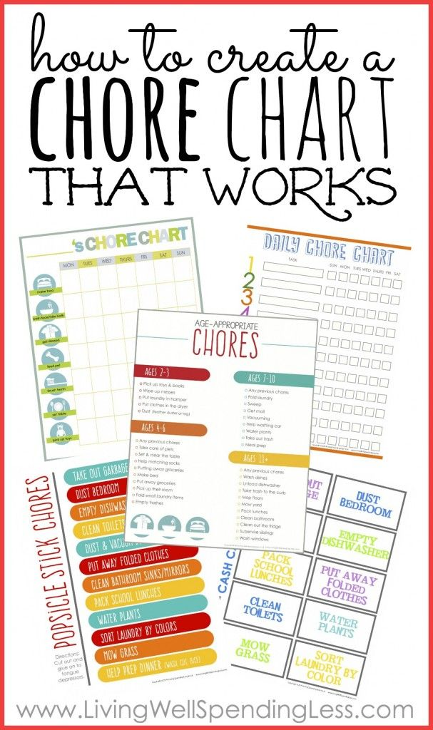Four simple steps you can take right now to create a chore chart that WORKS. This in-depth post includes 4 charts, plus a helpful list of tasks by age.