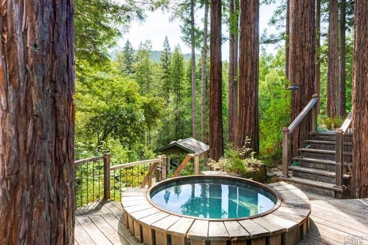 Rustic Hot Tub with Fence