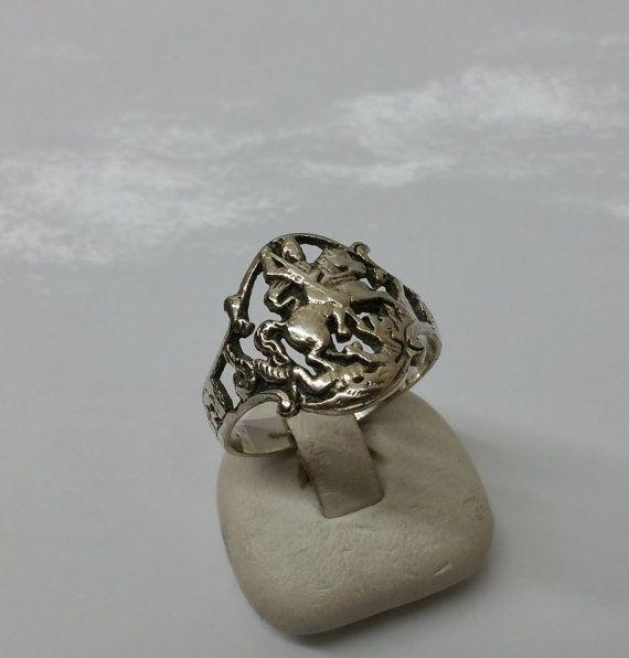 Ring antik Silber 800 Heiliger Georg Schutzpatron von Schmuckbaron