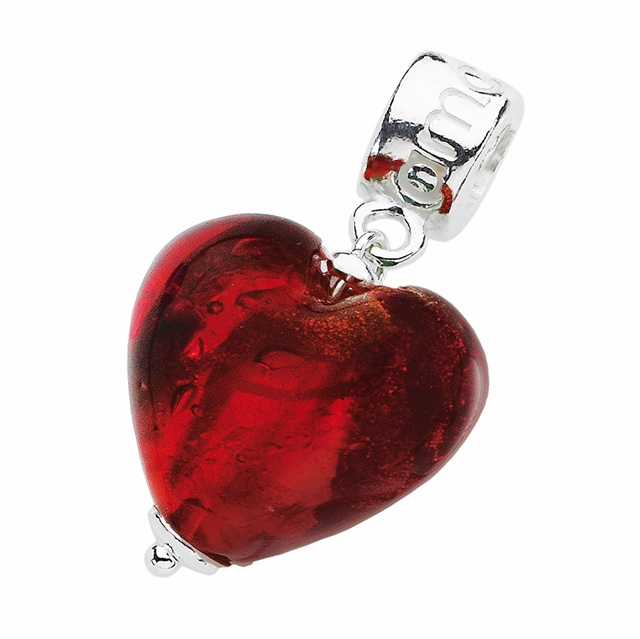 Amore & Baci heart silver charm #valentinesday