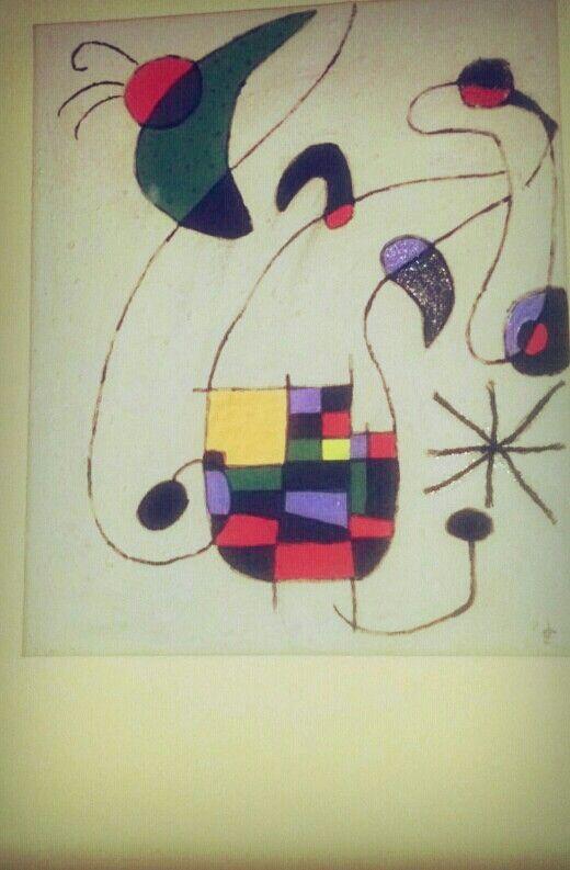 Cuadro de Miró, sobre lienzo, con diferentes texturas (harina, cuerda, purpurina, azúcar,...)