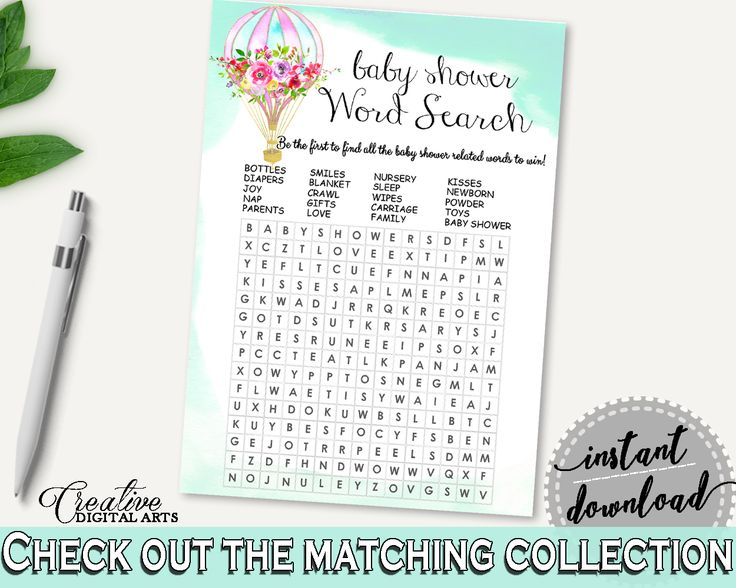 Word Search Baby Shower Word Search Hot Air Balloon Baby Shower Word Search Baby Shower Hot Air Balloon Word Search Green Pink prints CSXIS #babyshowergames #babyshower