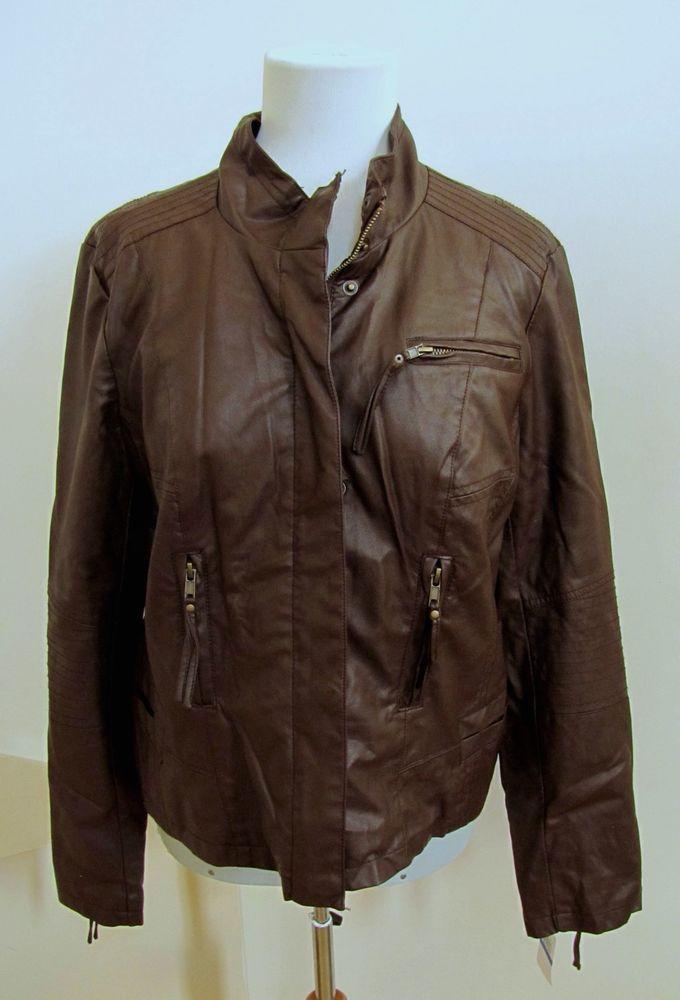 New PINK ENVELOPE Faux Leather Jacket Size XL Dark Brown Cognac Zip front Moto  #PINKENVELOPE #Motorcycle #Casual