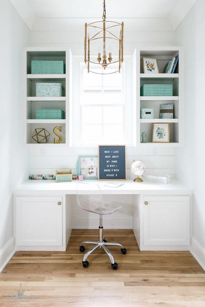 Home Office Built in Desk. Home Office Built in Desk. Home Office White Built in Desk and aqua accessories. The brass lantern is from Ballard Designs.  #HomeOffice #BuiltinDesk