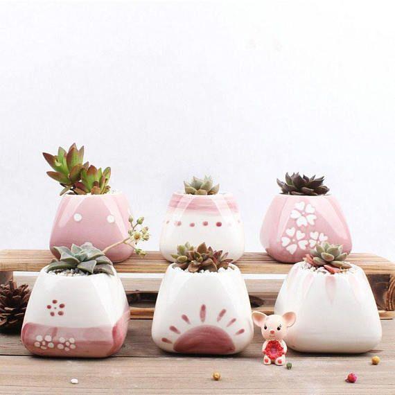 De aanbieding is voor 1 keramische planter in stijl #05 -Planter grootte: Gelieve te verwijzen naar de laatste foto  ******************************************************  Kleine schattige keramische Planter, perfecte vaartuig voor sappig, Cactus en Air planten.  De vrolijke zoete roze kleur creëert een jong en fris ontwerp. Dit schip is perfect voor bezit de schattig sappig, cactus of air plant van uw keuze.  Succulenten zijn gemakkelijk tot zorg, leuk om te kijken naar en gemakkelijk te…