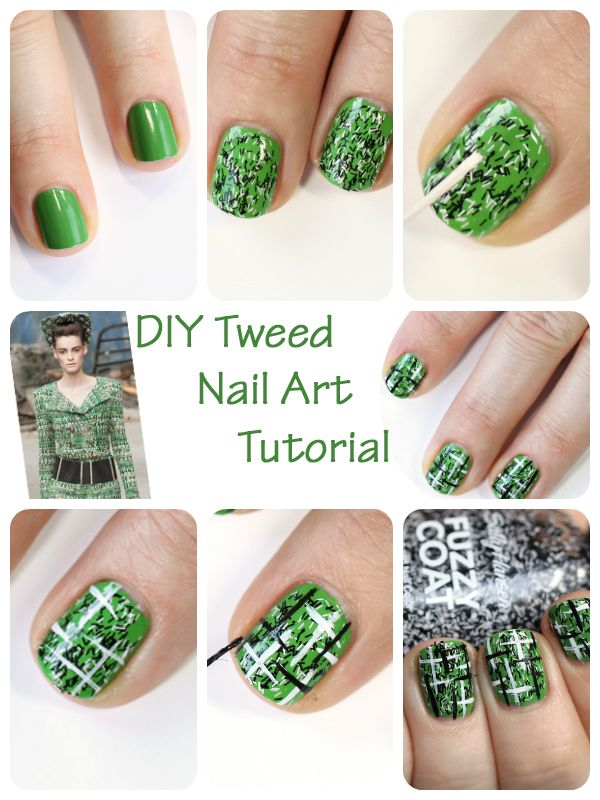 DYI tweed nail art tutorial - Makeup Wars. [All Laquered Up's take on a Chanel tweed suit using Sally Hansen Record Lime and Fuzzy Coat Tweedy.]