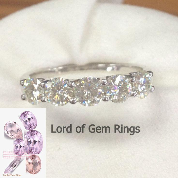 $459 Moissanite Wedding Band Anniversary Ring 14K White Gold 5 Stones 3.5mm Round