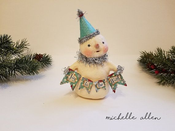 Folk Art paper Clay JOY to the WORLD by RaggedyPantsDesigns