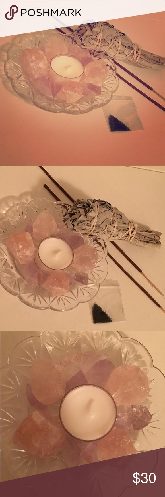 🕉🌙Home Protection Bundle! 🕉🌙Home Protection Spell set with 1 white Sage torch, 2 incense sticks, Black lava salt for protection from neighbors and to be burnt with candle!🕯 💕4 rose Quartz Crystals, mixed rough ☮️purple amethyst on a glass candle plate. Tea light is infused with honeysuckle and mint. All items are NWT Never used! ✌🏻️Will be packed individual, assembly is required! Other