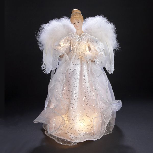 Sure To Be The Focal Point Of Your Tree This Angel Is Wearing A  - Christmas Angel Tree Topper Lighted