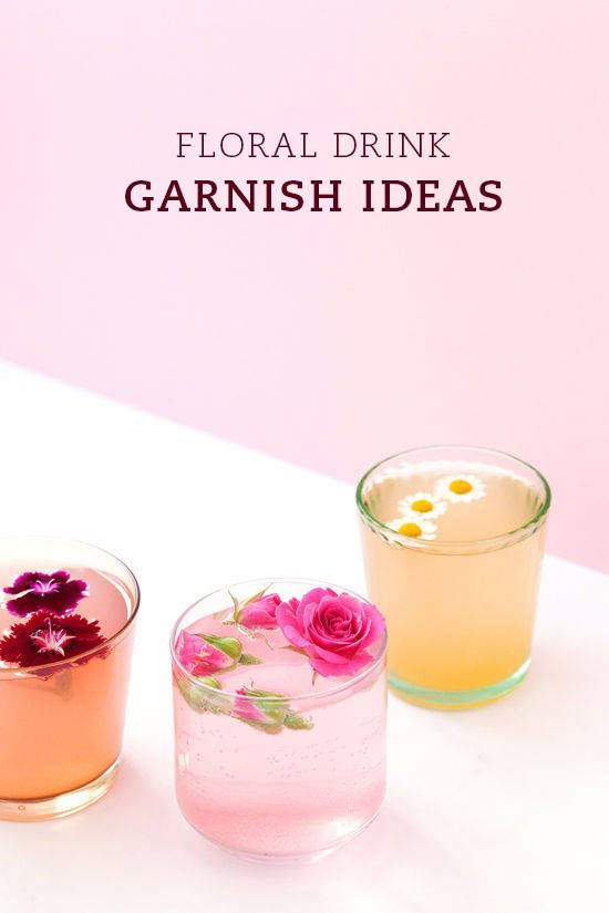 Floral drink garnishes - so pretty! And some unique cocktail ideas!