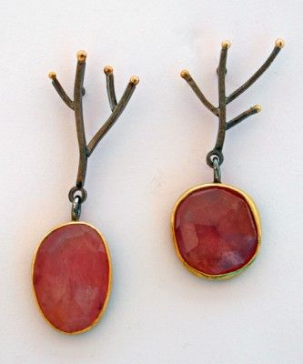 Sydney Lynch - Pink Meadow earrings; Umba sapphire, 22k gold & oxidized sterling.  1.5 inches long.  980$