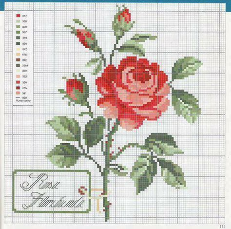 rosas esquema punto cruz - Pen