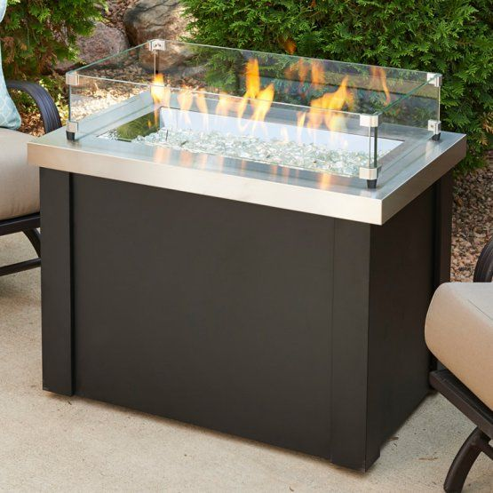 Outdoor GreatRoom Providence Stainless Steel Fire Pit Table with Optional Glass Guard and Burner Cover