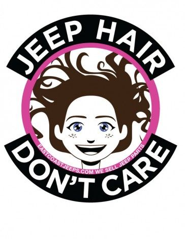 Jeep Hair Don't Care! 4-inch round vinyl sticker. Pink. $4. #Jeep