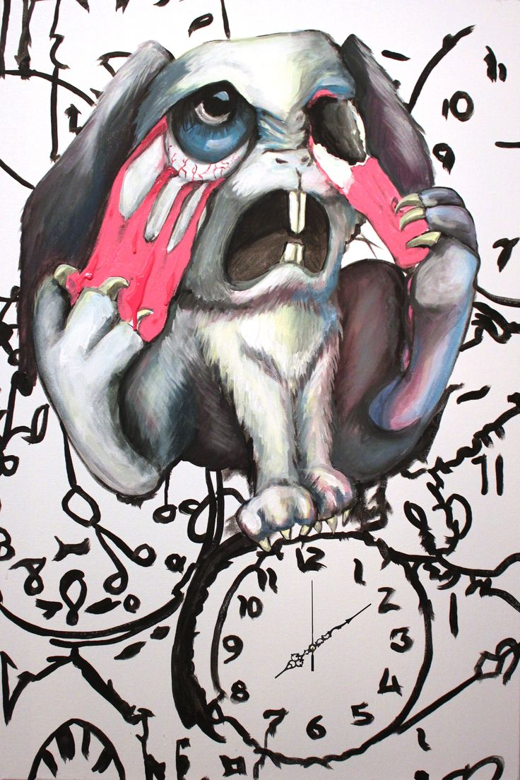 Losing time - Acrylic on canvas - madness - rabbit - art
