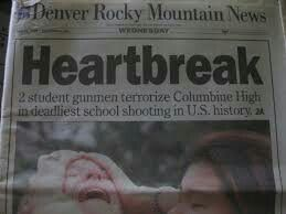 Columbine High School Massacre - 2  student gunman Eric Harris and Dylan Klebold enters high school and kills 12 teachers and 1 teacher in the deadliest school shooting in American history. 21 others were injured. They took their own lives. They were armed with several high tech weapons (tech nine), 99 explosives, and 4 knives. (April 20, 1999)