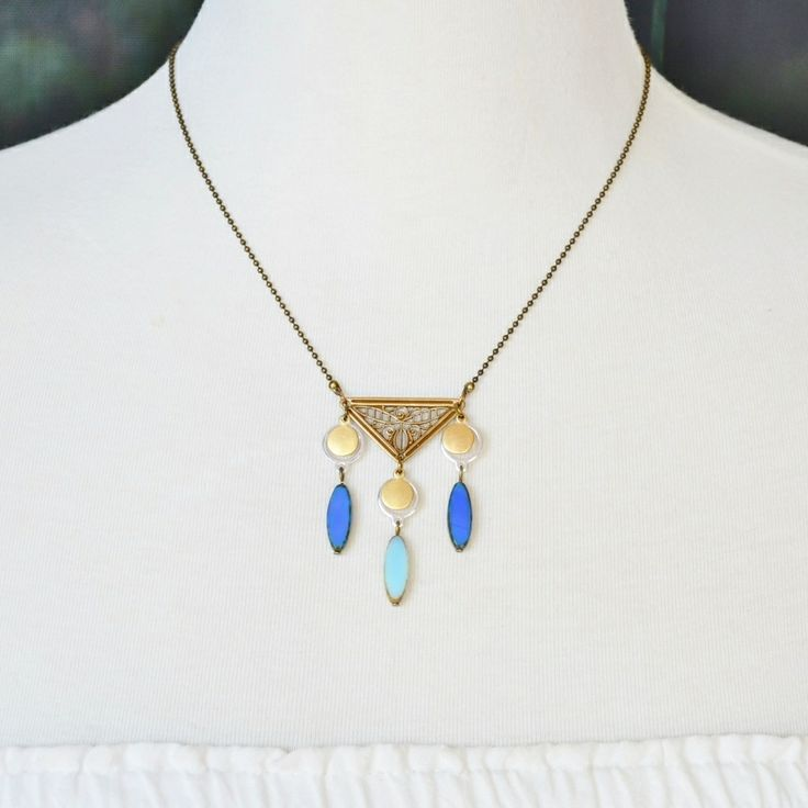 Rhodes necklace ~ gorgeous blue dagger Czech glass and brass stamping with silver & antique brass findings ~ adjustable length 41-47cm's