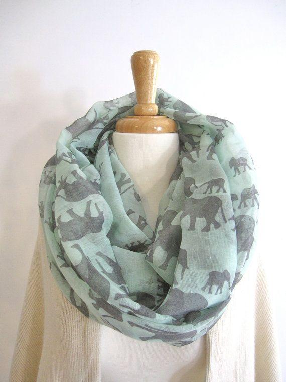 Mint Elephant Infinity Scarf Loop Scarf Circle Scarf Summer Scarf Head Scarf Cheap Scarves Fashion Scarves Scarfs
