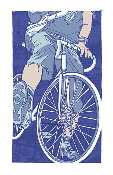 Bike Lane Ends Silk Screen Bicycle Art Print by GIGART on Etsy.    Available: http://www.gigart.com