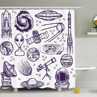 "Ambesonne Outer Space Minimalist Space Graphic Satellite Orbit Radar Saturn Telescope Space Shower Curtain Set Size: 75"" H x 69"" W x 1"" D"