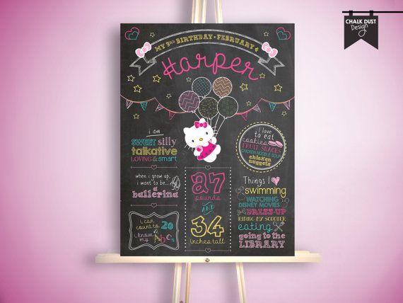 Custom chalkboard style Hello Kitty first birthday or any age by ChalkDustDesign. Sanrio, Balloons, chevron, hearts, stars, bows, bunting! Birthday chalkboard