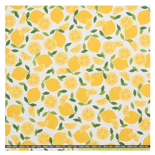 287fda57a6c81 Yellow Lemons Double-Sided Scrapbook Paper by Recollections®, 12
