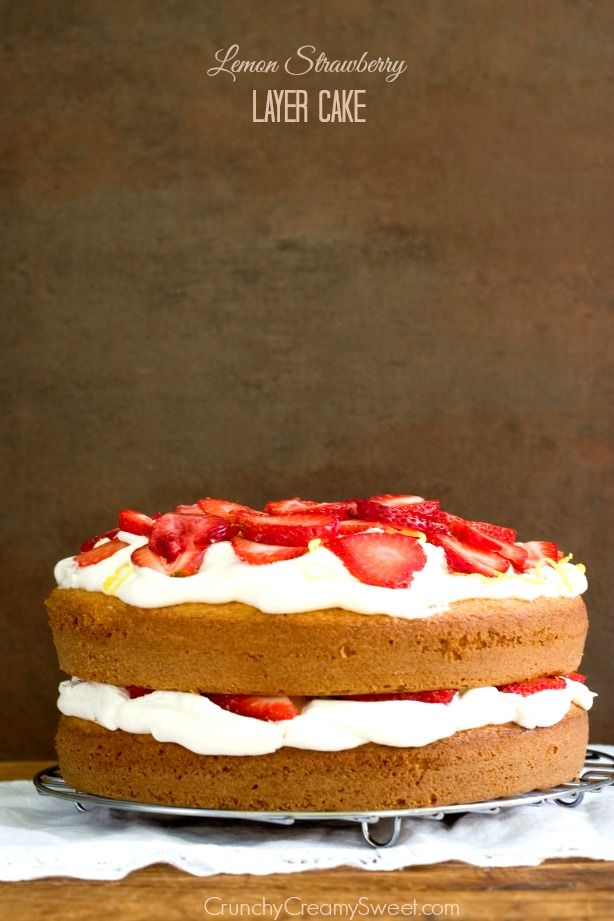 Lemon Strawberry Layer Cake - this rustic looking cake is very easy to make and absolutely delicious! You will love the lemon and strawberry combo!   #incrediblehull: Sweet, Layer Cake Recipes, Strawberries, Strawberry Cake Recipe, Strawberry Layer Cakes, Cake Recipe Strawberry, Lemon Layer Cake Recipe, Dessert