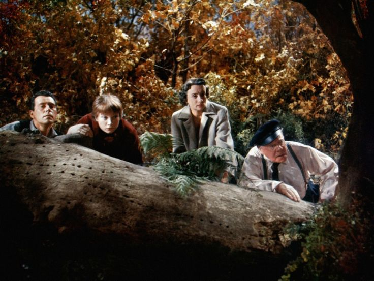 """""""The Trouble with Harry"""" of John Forsythe, Shirley MacLaine, Mildred Natwick and Edmund Gwenn. https://the.hitchcock.zone/wiki/Hitchcock_Gallery:_image_5167"""