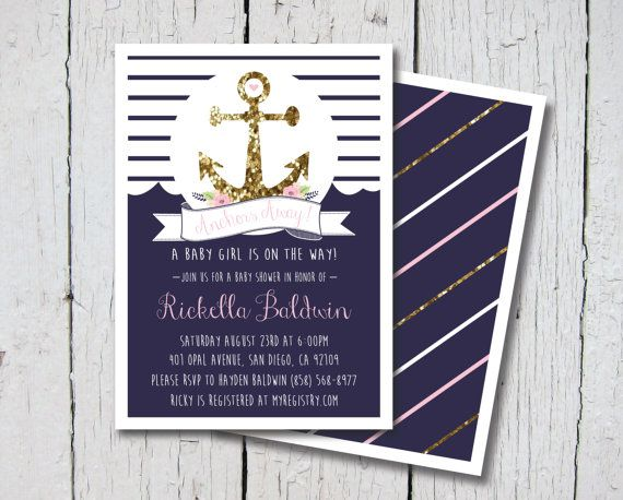 """""""Anchors Away!"""" Printable Nautical Girl Baby Shower Invitation by Lynnsie Whitaker for Lou-ology art on Etsy.com. Baby Girl, Pink, White, Navy Blue, Gold, Ocean, Beach, Anchor, $12.99"""