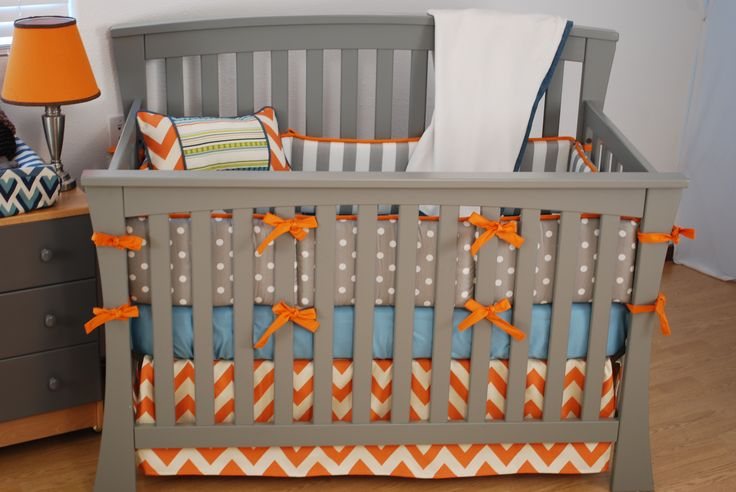 Orange Chevron Crib Bedding With Grey And Aqua Fabrics