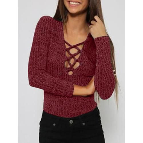 Wine Red Plunge Neck Strappy Front Long Sleeve T-shirt D902-CYA37R