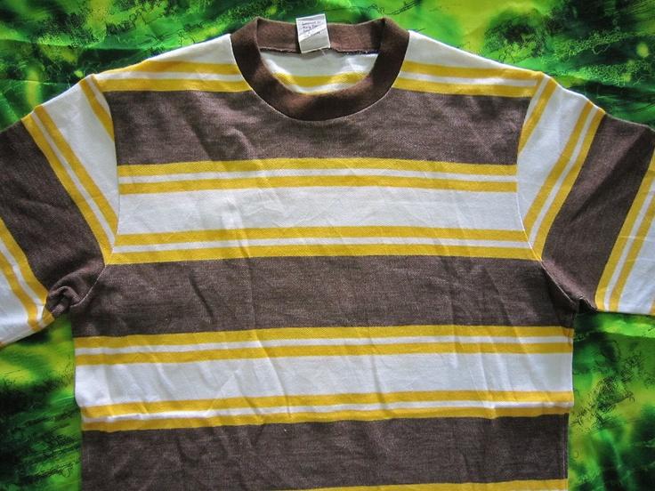Vintage 70s Hang Ten  Surfing Skate Stripes T Shirt.