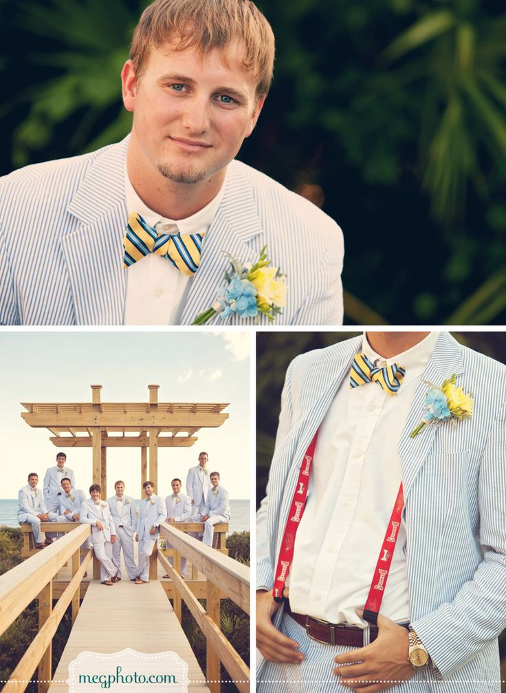 #southern #wedding #seersucker #suit #bow tie #suspenders #groom #groomsmen