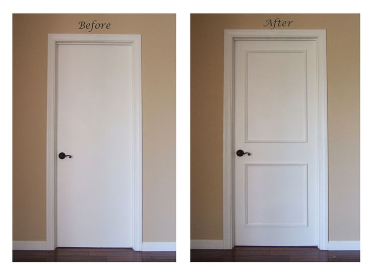 Two Panel Door Moulding Kit...takes minutes to install! No gluing, nailing or tools needed! Watch our installation video: https://www.youtube.com/watch?v=re9FIIP9QxU