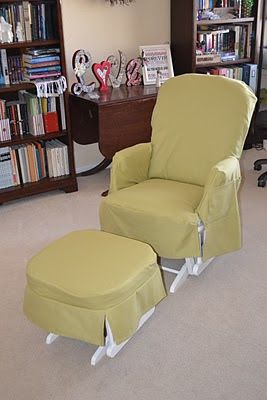 Slipcover for glider & ottoman. May try this so I can just pull the slipcover off & wash it.