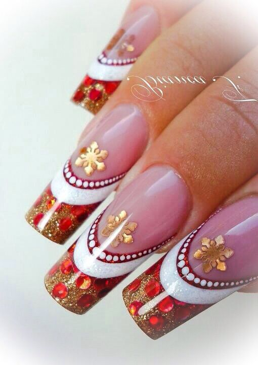 Christmas red, white & gold nail design