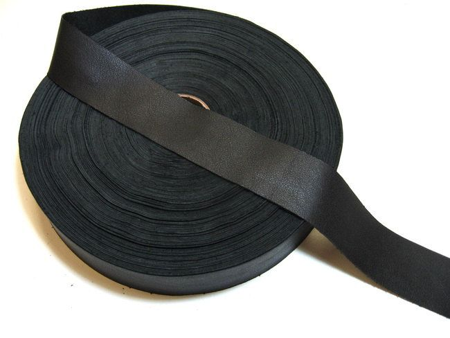 """CLEARANCE!!!!   1-1/2"""" Flat Cowhide Leather Binding in Black 1500 (3 yd) 1500ND8 trim tape; edge binding; leather tape"""
