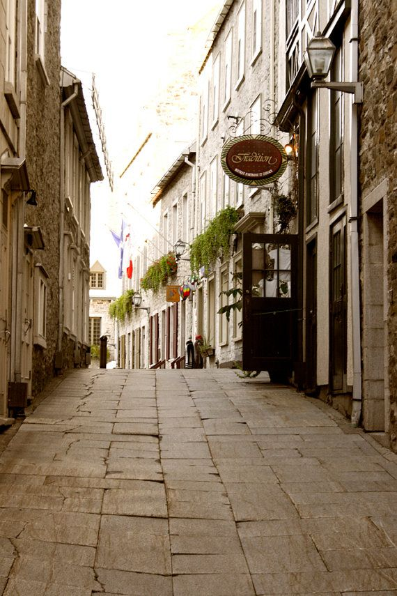 Photograph Charming Quaint Shop Lined Narrow Cobble Stoned Old Quebec City Canada Romantic