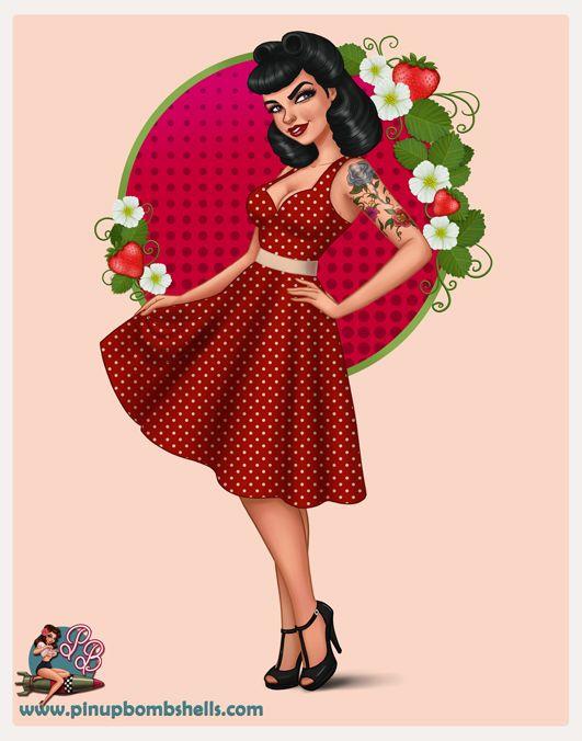 ❤Darlin, Pin Up Girl Drawing, black haired pin up, pin up illustration, Crystal Wall Lancaster,strawberry pin up, red polka dot dress