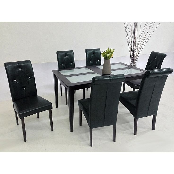 Give Your Dining Area A Splash Of Contemporary Design With The Seven Piece  Dita Dining Set. Crafted With Durable Oak Wood, The Brown Table Features A  Clear ...