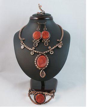 Joyería de cobre configuración coral joyas ajuste anillo del pendiente del collar-pulsera-alambre envuelto joyas hechas a mano