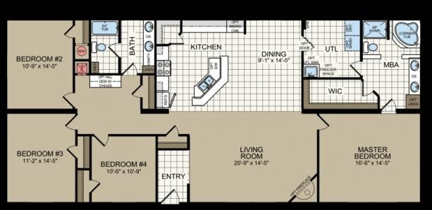 The Linwood Built By Titan Factory Direct In San Antonio Tx View The Floor Plan Of This 4 Bedroom 2 In 2020 Mobile Home Floor Plans Double Wide Home House Floor Plans