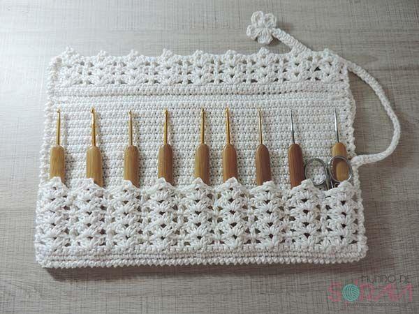 Porta-agulha de croche tutorial [crochet holder tutorial]